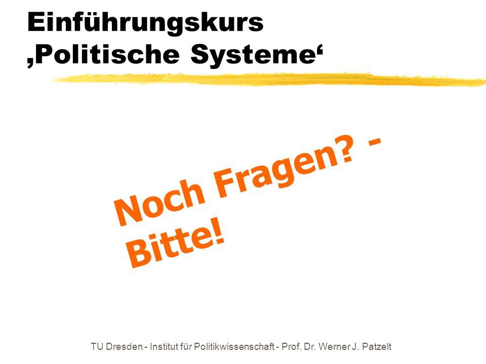 TU Dresden - Institut für Politikwissenschaft - Prof. Dr. Werner J. Patzelt Einführungskurs Politische Systeme Noch Fragen? - Bitte!