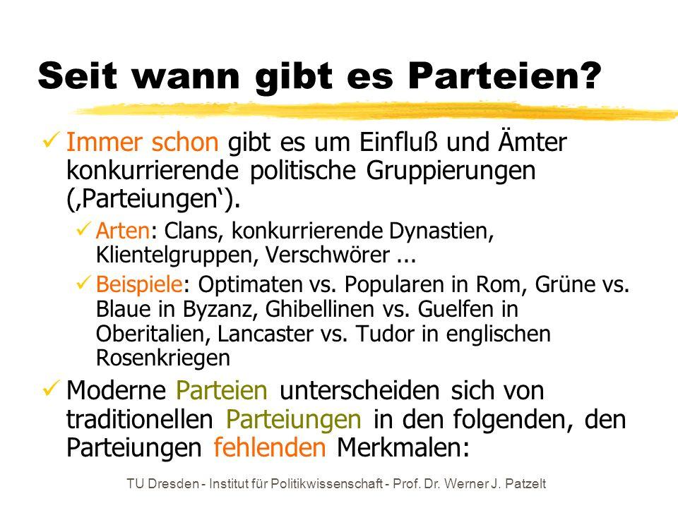 TU Dresden - Institut für Politikwissenschaft - Prof. Dr. Werner J. Patzelt Seit wann gibt es Parteien? Immer schon gibt es um Einfluß und Ämter konku