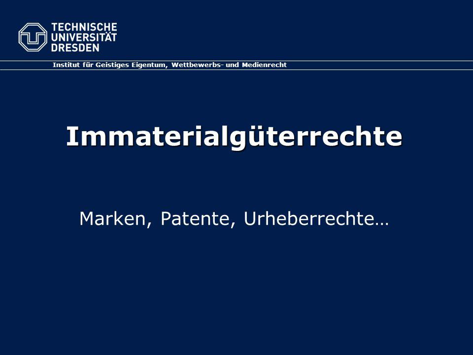 Arbeitsgemeinschaft MODUL 1 Folie 2 Geistiges Eigentum Immaterialgüterrechte Intellectual Property Der grüne Bereich Gewerblicher Rechtsschutz und Urheberrecht