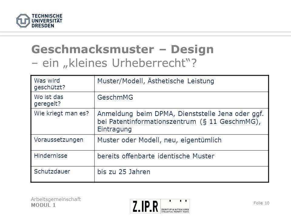 Arbeitsgemeinschaft MODUL 1 Folie 11 Urheberrecht Gestaltungshöhe, Kunst Recht per se, d.