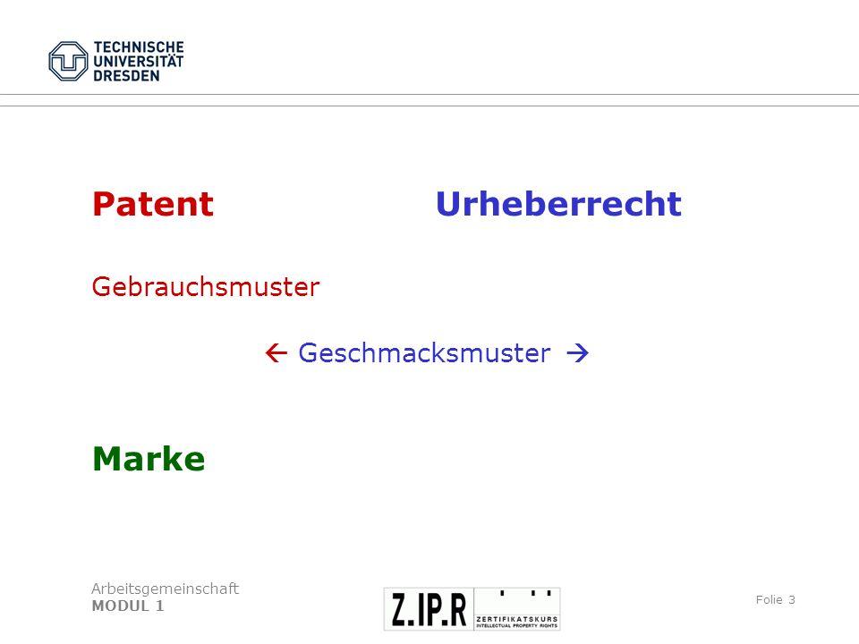 Arbeitsgemeinschaft MODUL 1 Folie 4 Patent Was wird geschützt.