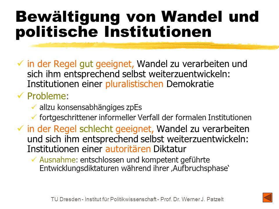 TU Dresden - Institut für Politikwissenschaft - Prof. Dr. Werner J. Patzelt Bewältigung von Wandel und politische Institutionen in der Regel gut geeig