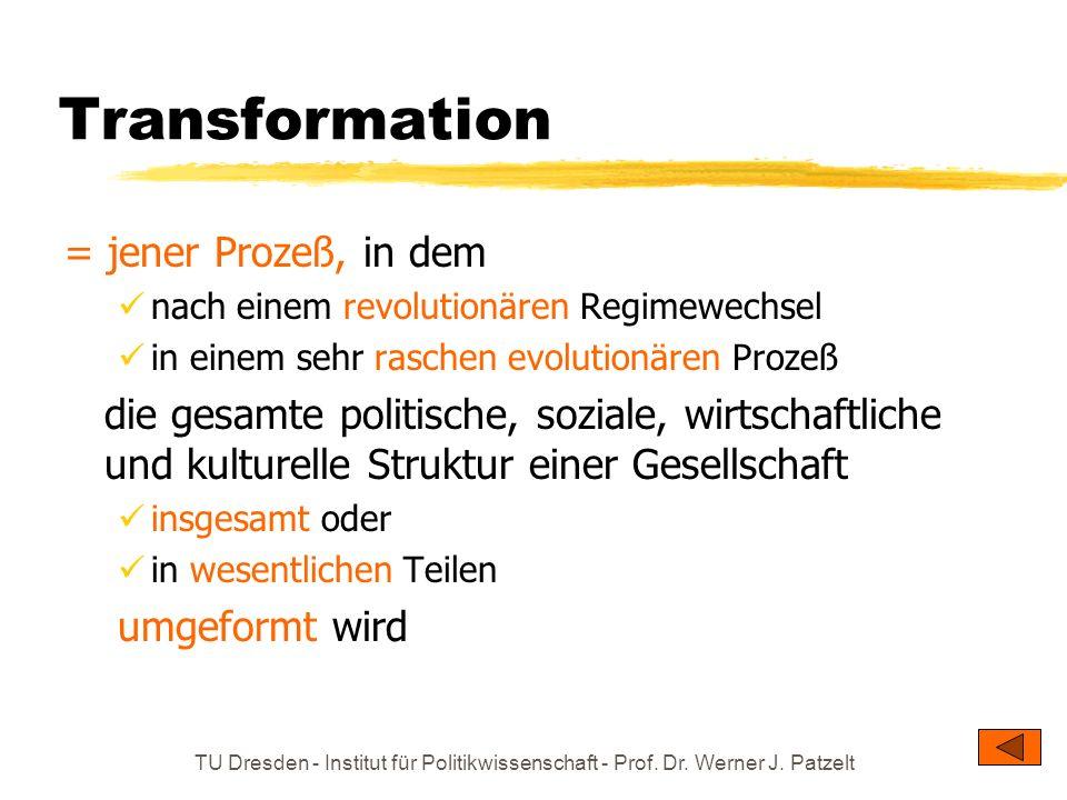 TU Dresden - Institut für Politikwissenschaft - Prof. Dr. Werner J. Patzelt Transformation = jener Prozeß, in dem nach einem revolutionären Regimewech