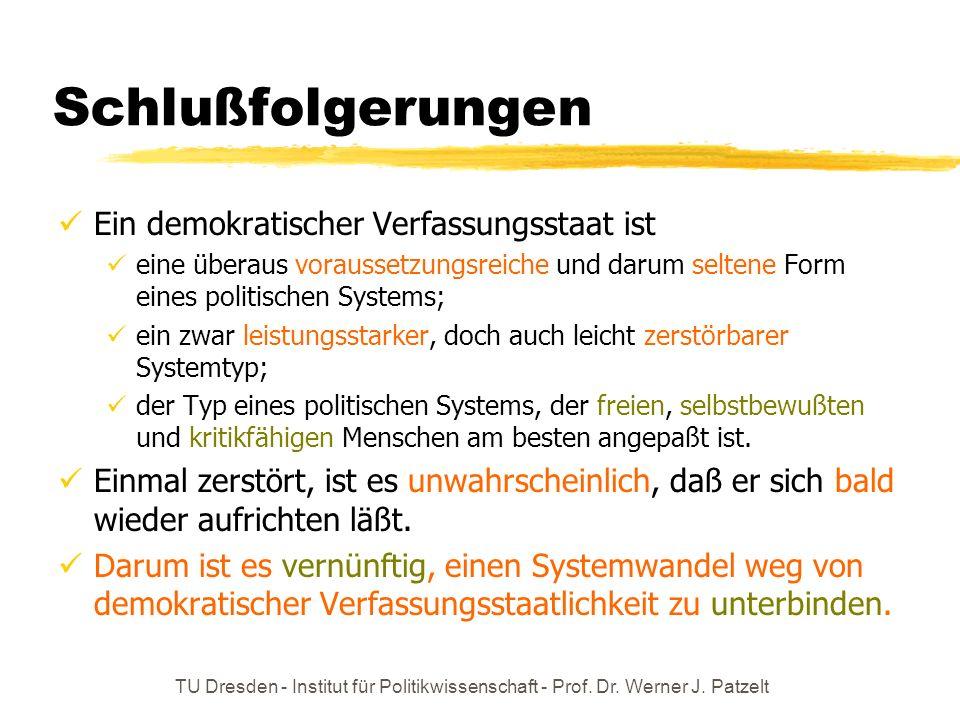 TU Dresden - Institut für Politikwissenschaft - Prof. Dr. Werner J. Patzelt Schlußfolgerungen Ein demokratischer Verfassungsstaat ist eine überaus vor