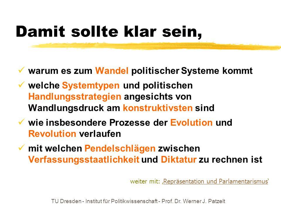 TU Dresden - Institut für Politikwissenschaft - Prof. Dr. Werner J. Patzelt Damit sollte klar sein, warum es zum Wandel politischer Systeme kommt welc