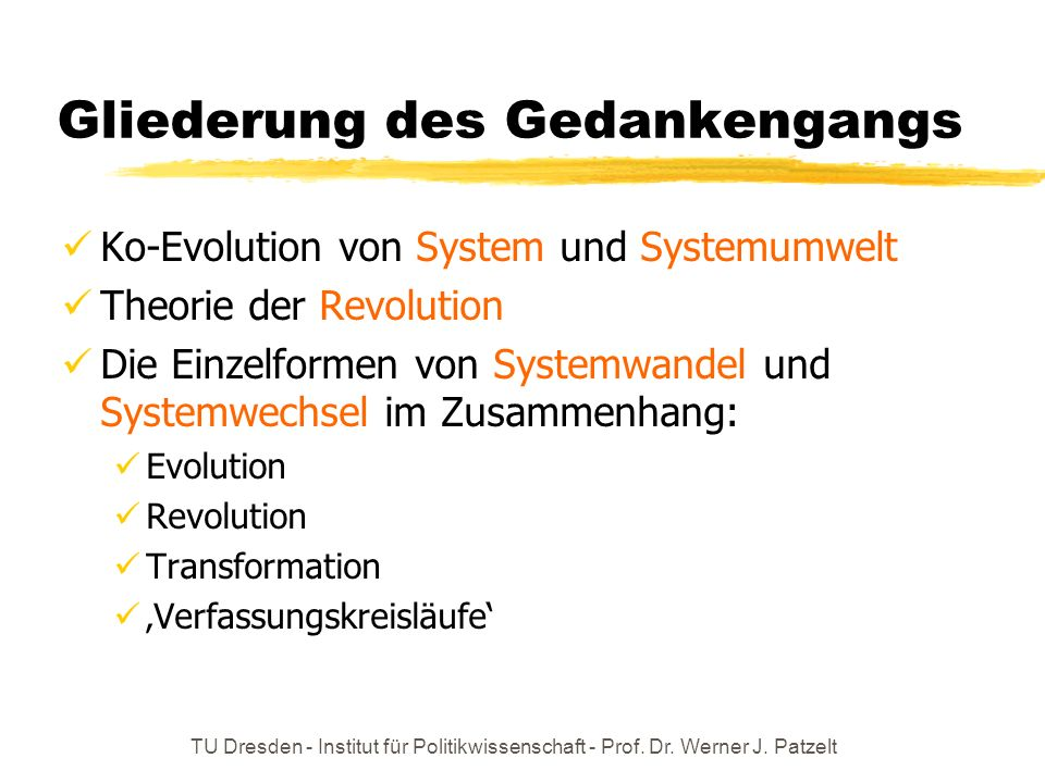 TU Dresden - Institut für Politikwissenschaft - Prof. Dr. Werner J. Patzelt Gliederung des Gedankengangs Ko-Evolution von System und Systemumwelt Theo