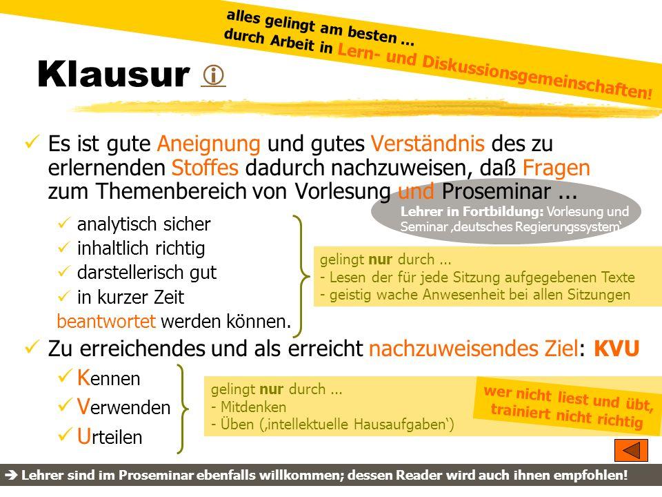 TU Dresden - Institut für Politikwissenschaft - Prof. Dr. Werner J. Patzelt Lehrer in Fortbildung: Vorlesung und Seminar deutsches Regierungssystem Kl
