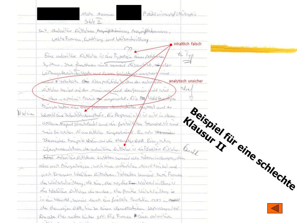 TU Dresden - Institut für Politikwissenschaft - Prof. Dr. Werner J. Patzelt Beispiel für eine schlechte Klausur II analytisch unsicher inhaltlich fals
