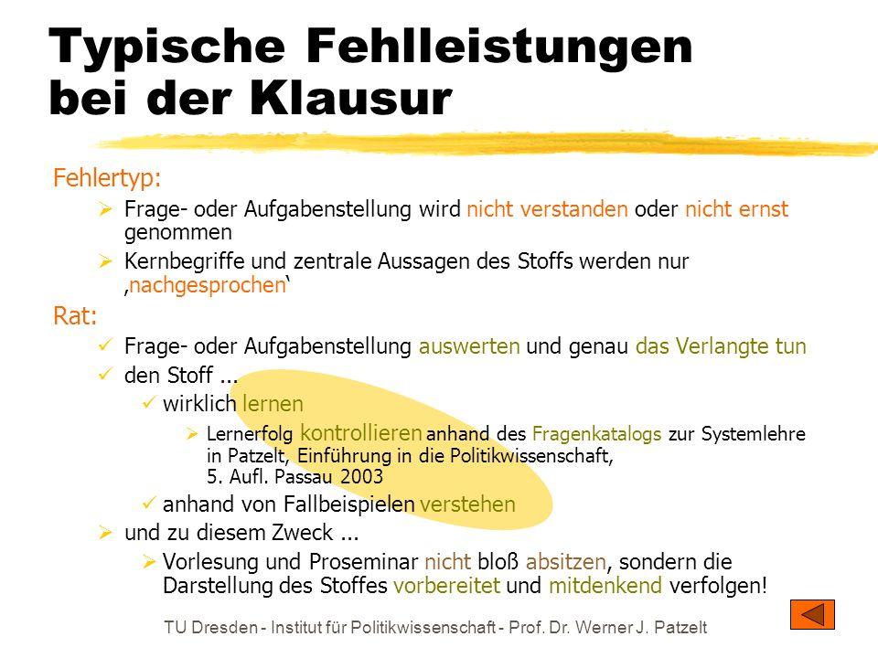 TU Dresden - Institut für Politikwissenschaft - Prof. Dr. Werner J. Patzelt Typische Fehlleistungen bei der Klausur Fehlertyp: Frage- oder Aufgabenste