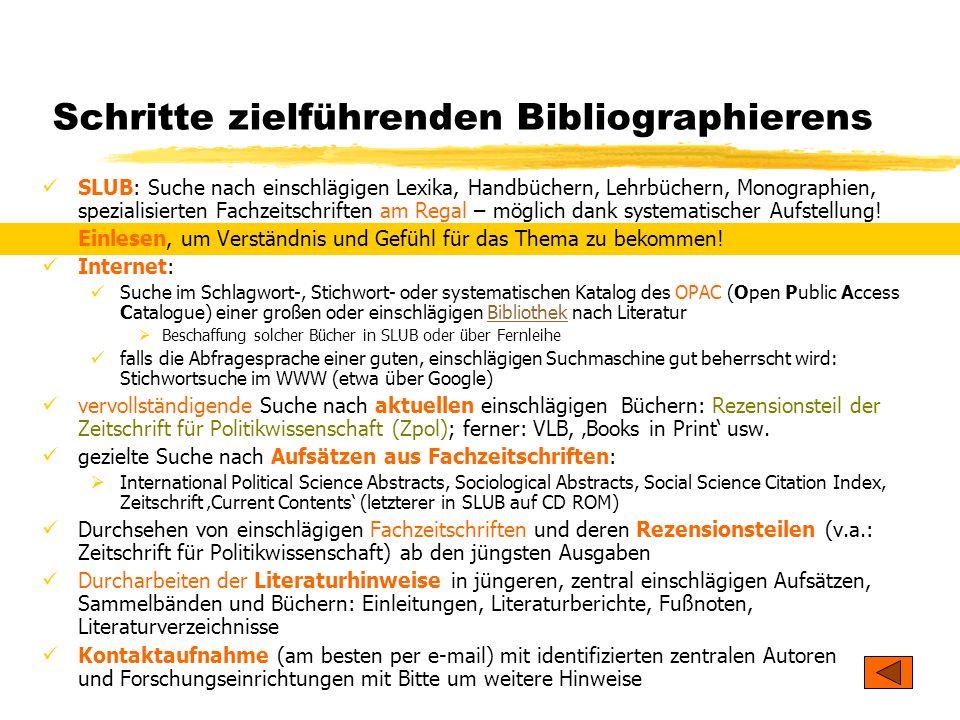 TU Dresden - Institut für Politikwissenschaft - Prof. Dr. Werner J. Patzelt Schritte zielführenden Bibliographierens SLUB: Suche nach einschlägigen Le