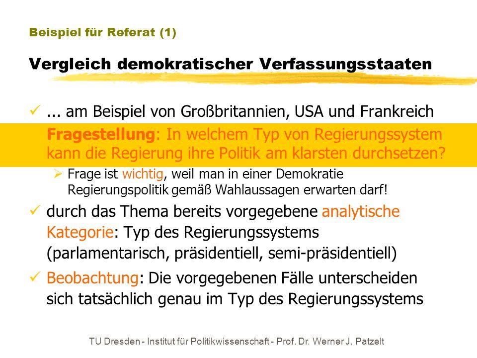 TU Dresden - Institut für Politikwissenschaft - Prof. Dr. Werner J. Patzelt Beispiel für Referat (1) Vergleich demokratischer Verfassungsstaaten... am