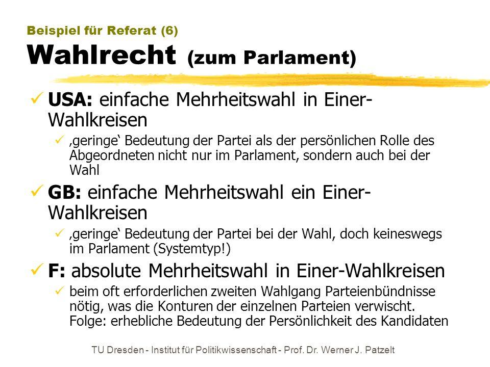 TU Dresden - Institut für Politikwissenschaft - Prof. Dr. Werner J. Patzelt Beispiel für Referat (6) Wahlrecht (zum Parlament) USA: einfache Mehrheits
