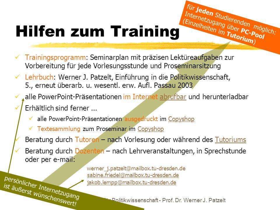 TU Dresden - Institut für Politikwissenschaft - Prof. Dr. Werner J. Patzelt Trainingsprogramm: Seminarplan mit präzisen Lektüreaufgaben zur Vorbereitu