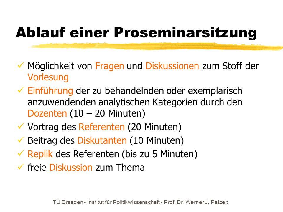 TU Dresden - Institut für Politikwissenschaft - Prof. Dr. Werner J. Patzelt Ablauf einer Proseminarsitzung Möglichkeit von Fragen und Diskussionen zum