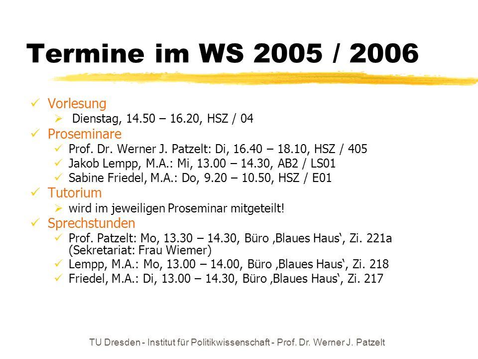 TU Dresden - Institut für Politikwissenschaft - Prof. Dr. Werner J. Patzelt Termine im WS 2005 / 2006 Vorlesung Dienstag, 14.50 – 16.20, HSZ / 04 Pros