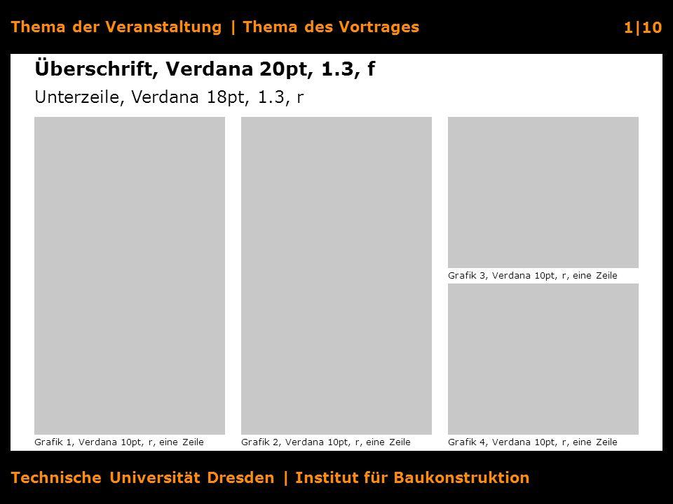 Technische Universität Dresden | Institut für Baukonstruktion Thema der Veranstaltung | Thema des Vortrages 2|10 Grafik 1Grafik 4 Überschrift, Verdana 20pt, 1.3, f Unterzeile, Verdana 18pt, 1.3, r