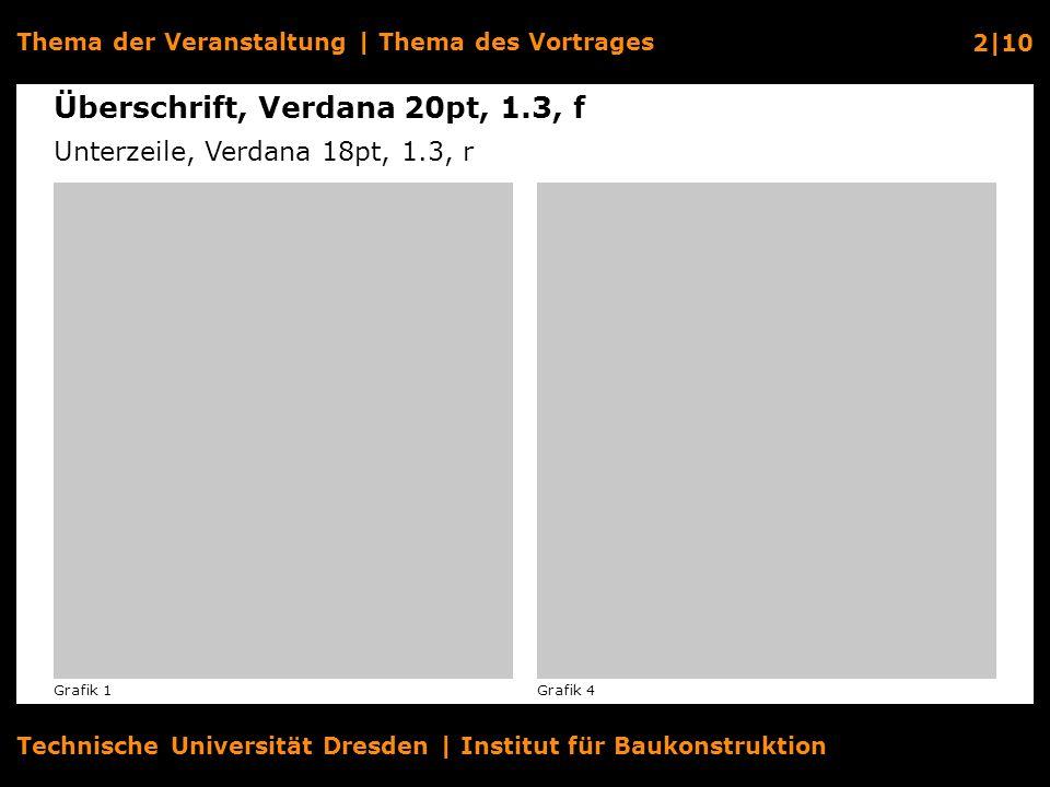 Technische Universität Dresden | Institut für Baukonstruktion Thema der Veranstaltung | Thema des Vortrages 3|10 Textüberschrift, Verdana 14pt, 1.3, f Fließtext, Verdana 14pt, 1.3.
