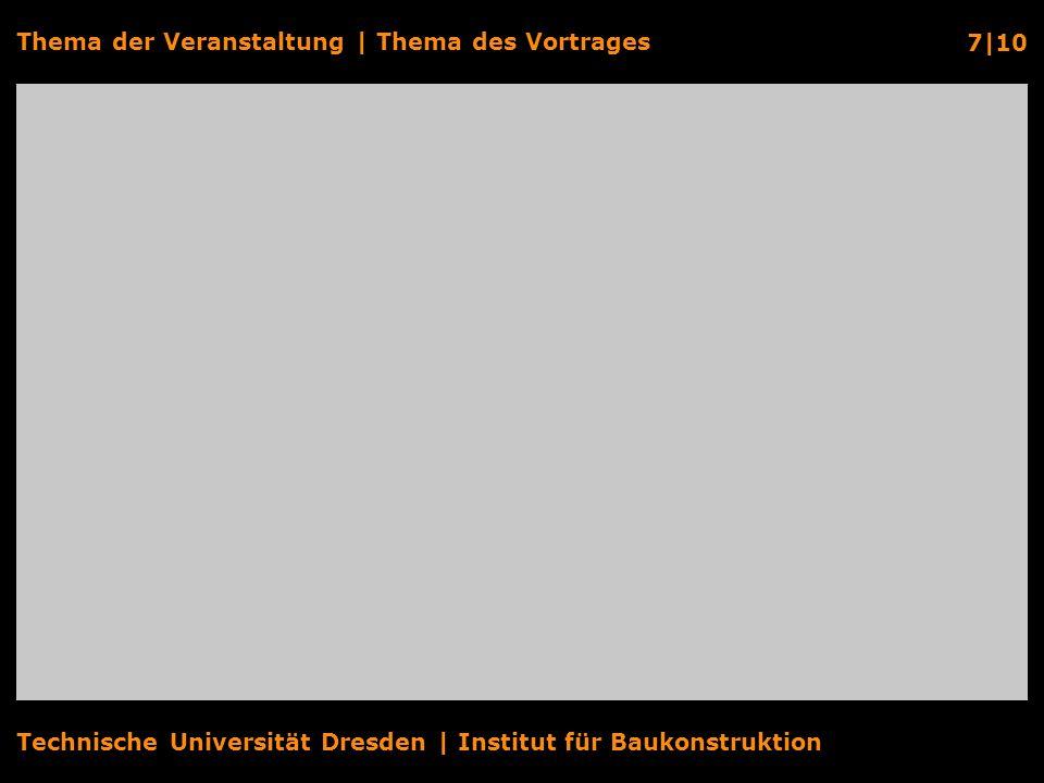 Technische Universität Dresden | Institut für Baukonstruktion Thema der Veranstaltung | Thema des Vortrages 8|10