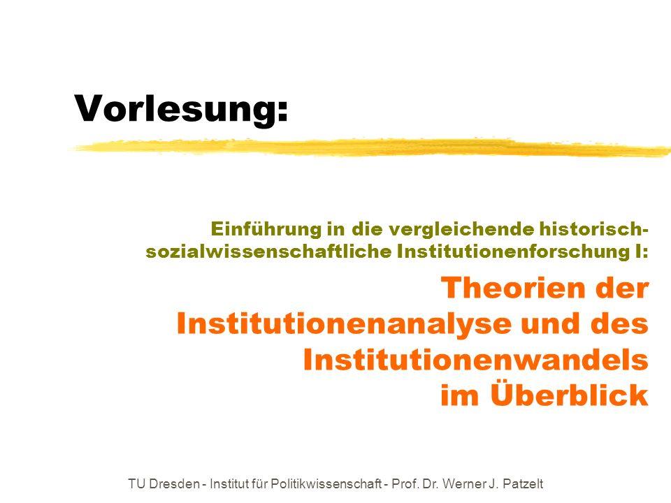 Historischer Institutionalismus (I) Anliegen: ausfindig machen, ob es inhaltsunabhängige (!) Prägefaktoren gesellschaftlichen, wirtschaftlichen, politischen und kulturellen Wandels geben mag – und ggf.