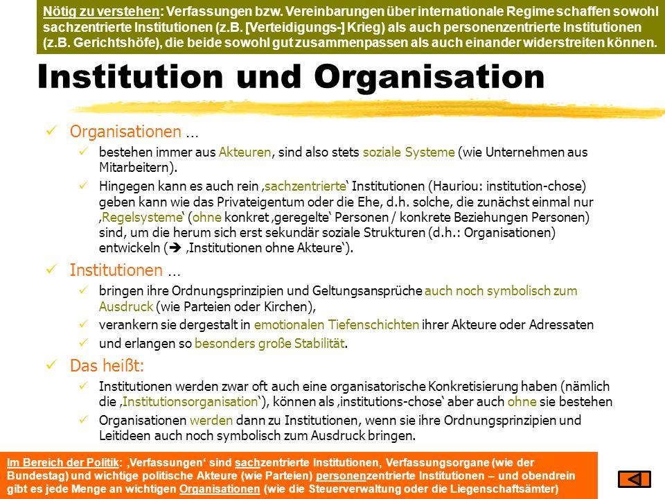 Institution und Organisation Organisationen … bestehen immer aus Akteuren, sind also stets soziale Systeme (wie Unternehmen aus Mitarbeitern). Hingege