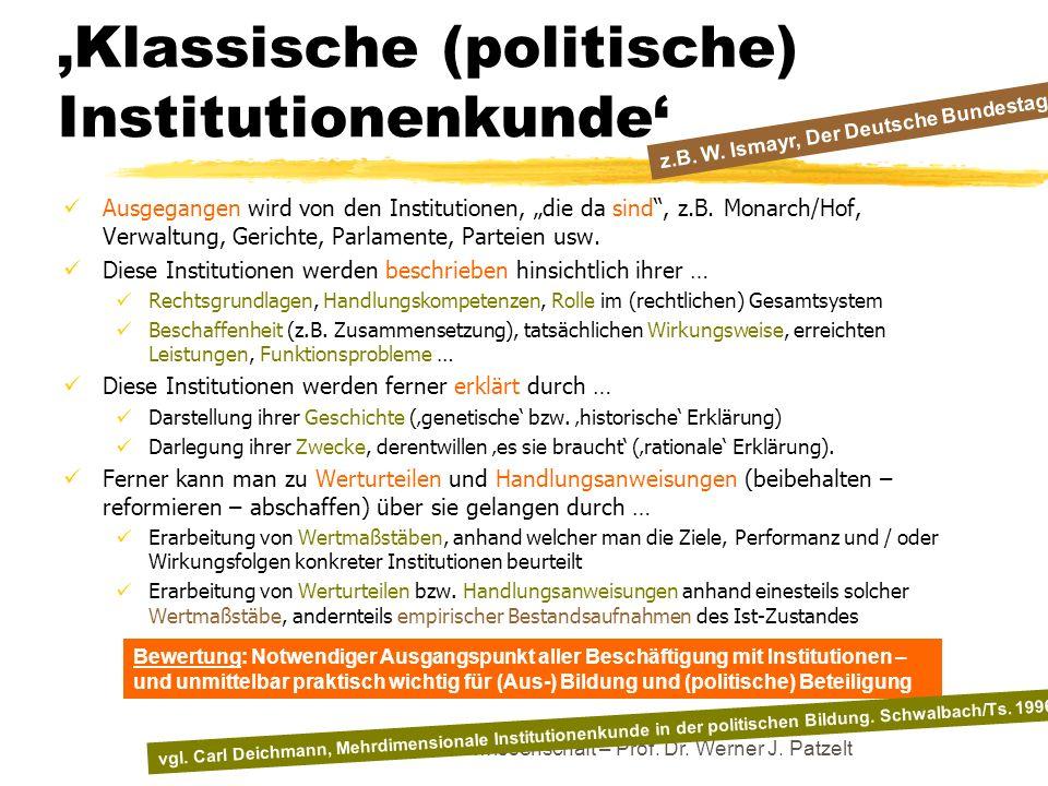 Klassische (politische) Institutionenkunde Ausgegangen wird von den Institutionen, die da sind, z.B. Monarch/Hof, Verwaltung, Gerichte, Parlamente, Pa