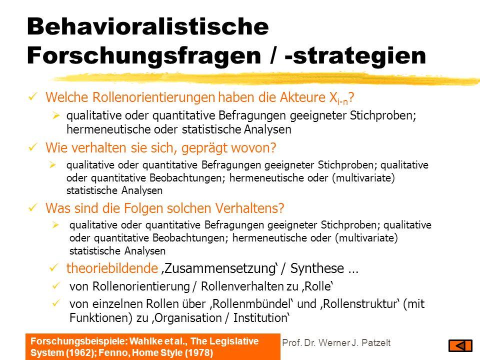 Behavioralistische Forschungsfragen / -strategien Welche Rollenorientierungen haben die Akteure X i-n ? qualitative oder quantitative Befragungen geei