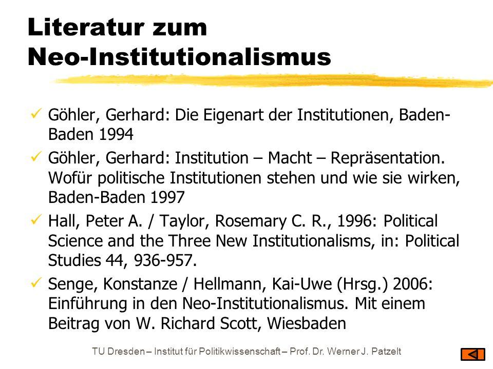 Literatur zum Neo-Institutionalismus Göhler, Gerhard: Die Eigenart der Institutionen, Baden- Baden 1994 Göhler, Gerhard: Institution – Macht – Repräse