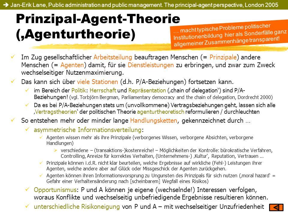 Prinzipal-Agent-Theorie (Agenturtheorie) Im Zug gesellschaftlicher Arbeitsteilung beauftragen Menschen (= Prinzipale) andere Menschen (= Agenten) dami