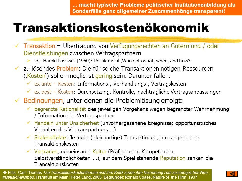 Transaktionskostenökonomik Transaktion = Übertragung von Verfügungsrechten an Gütern und / oder Dienstleistungen zwischen Vertragspartnern vgl. Harold