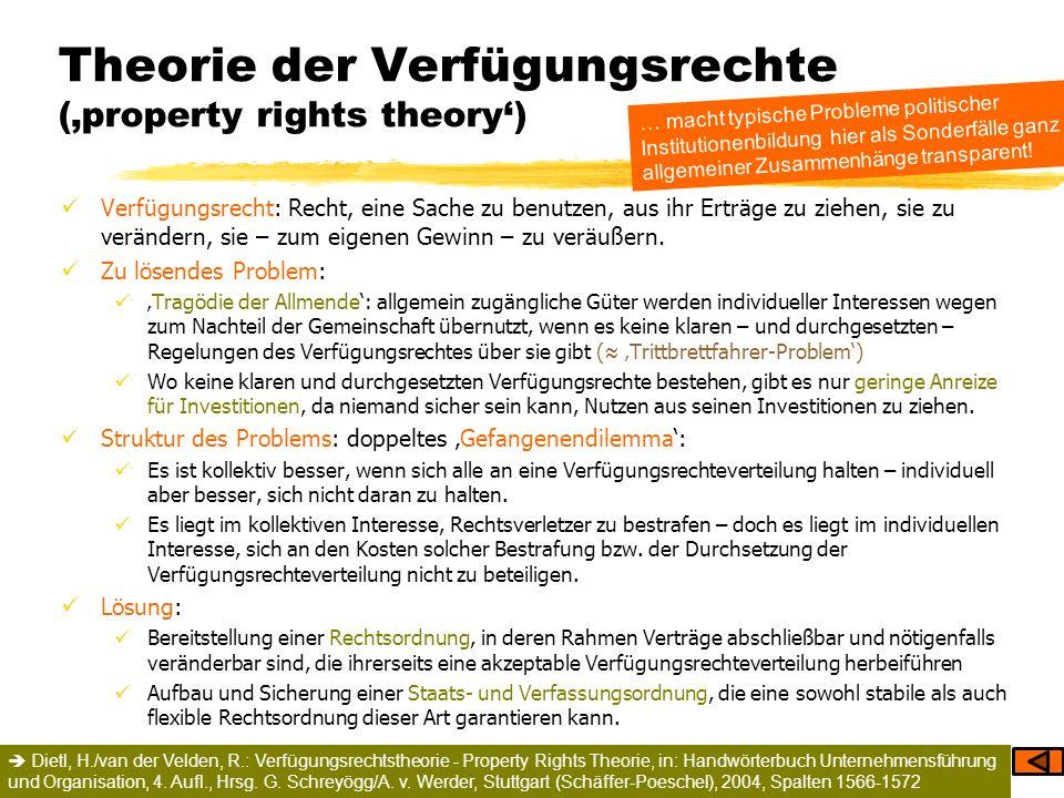 Theorie der Verfügungsrechte (property rights theory) Verfügungsrecht: Recht, eine Sache zu benutzen, aus ihr Erträge zu ziehen, sie zu verändern, sie