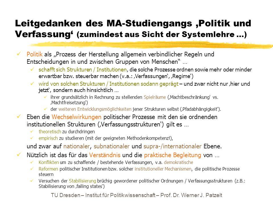 Leitgedanken des MA-Studiengangs Politik und Verfassung (zumindest aus Sicht der Systemlehre …) Politik als Prozess der Herstellung allgemein verbindl