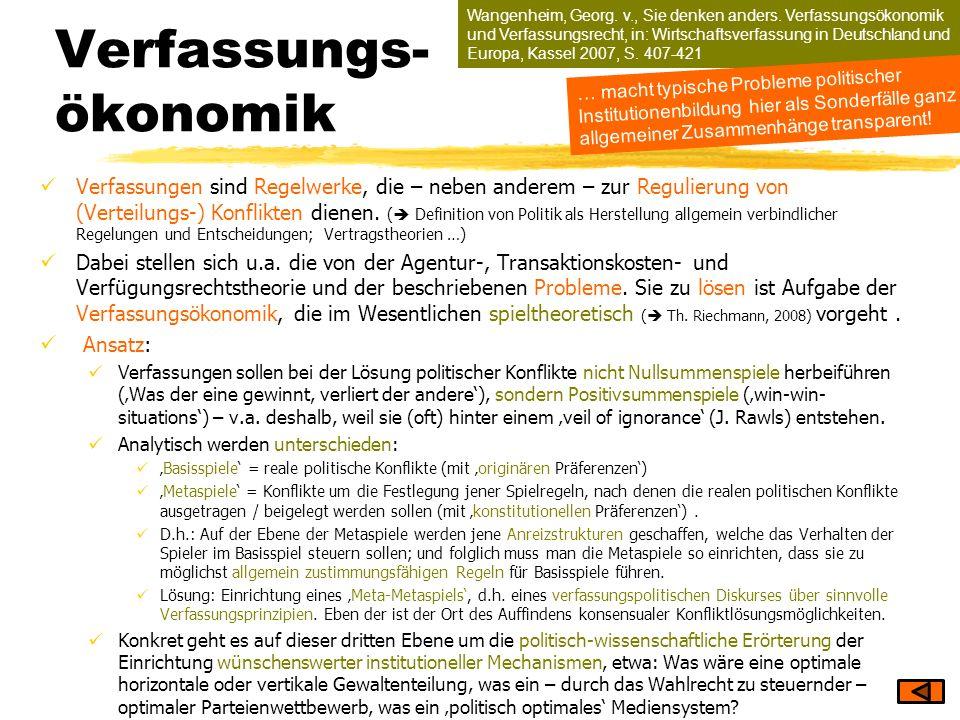 Wangenheim, Georg. v., Sie denken anders. Verfassungsökonomik und Verfassungsrecht, in: Wirtschaftsverfassung in Deutschland und Europa, Kassel 2007,