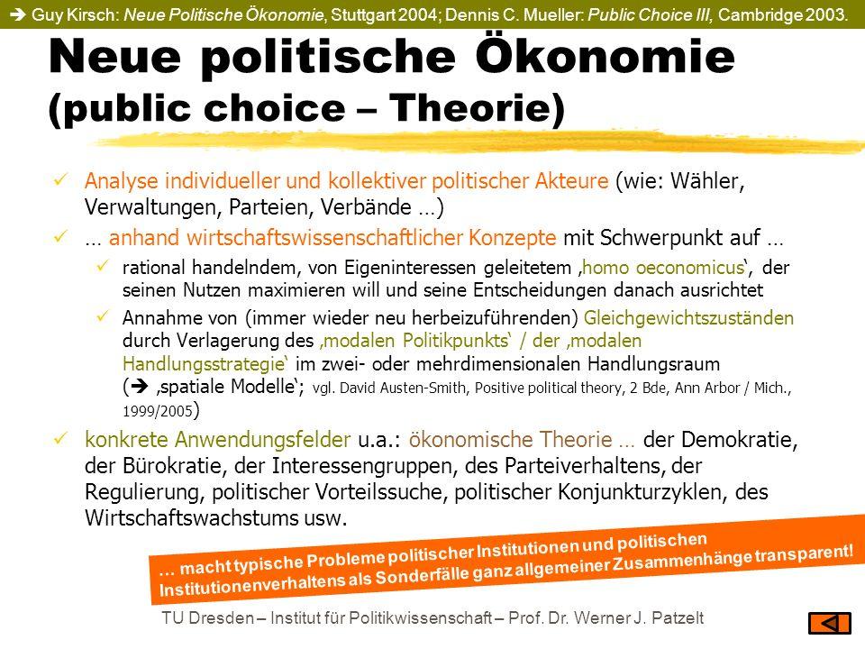 Neue politische Ökonomie (public choice – Theorie) Analyse individueller und kollektiver politischer Akteure (wie: Wähler, Verwaltungen, Parteien, Ver