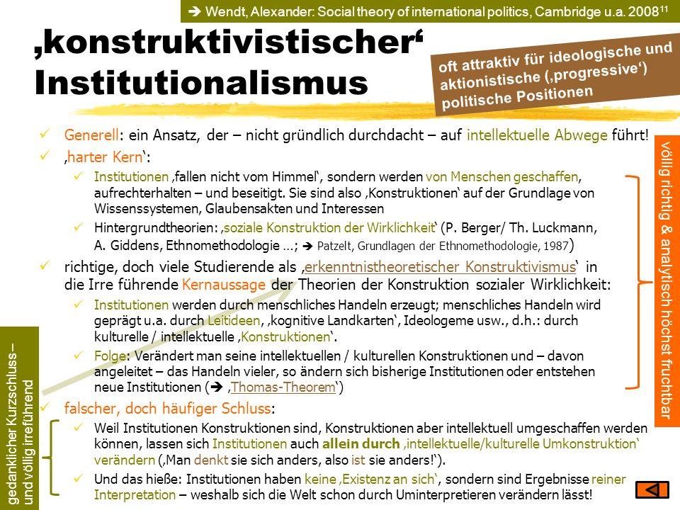 konstruktivistischer Institutionalismus völlig richtig & analytisch höchst fruchtbar gedanklicher Kurzschluss – und völlig irreführend oft attraktiv f