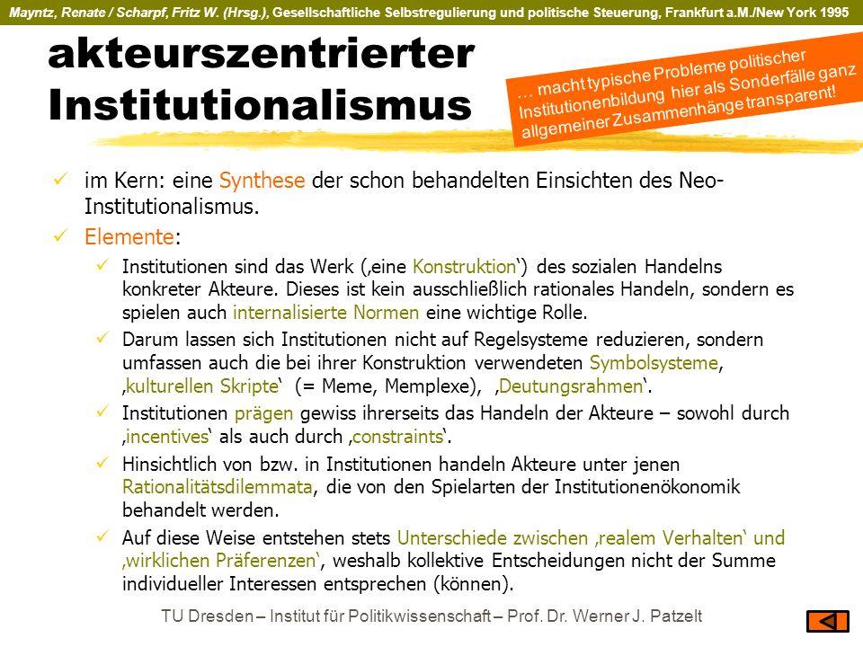 akteurszentrierter Institutionalismus im Kern: eine Synthese der schon behandelten Einsichten des Neo- Institutionalismus. Elemente: Institutionen sin