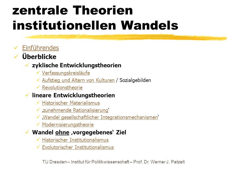 zentrale Theorien institutionellen Wandels Einführendes Überblicke zyklische Entwicklungstheorien Verfassungskreisläufe Aufstieg und Altern von Kultur
