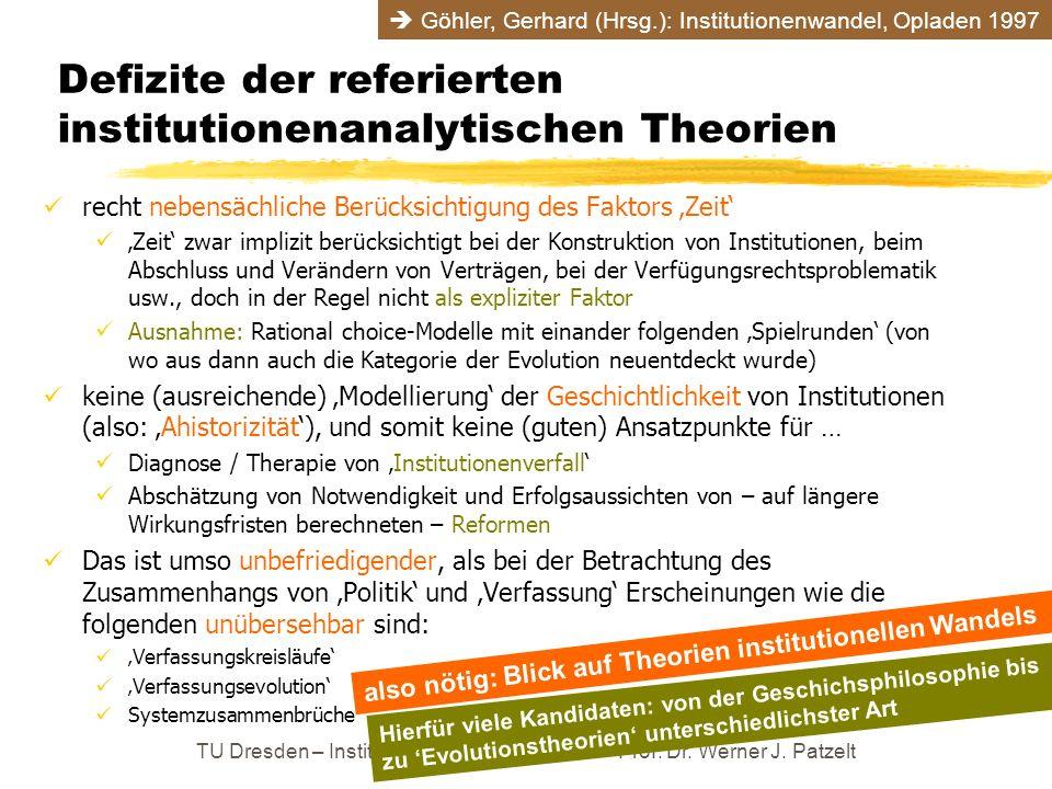 Defizite der referierten institutionenanalytischen Theorien recht nebensächliche Berücksichtigung des Faktors Zeit Zeit zwar implizit berücksichtigt b