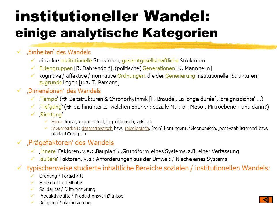 institutioneller Wandel: einige analytische Kategorien Einheiten des Wandels einzelne institutionelle Strukturen, gesamtgesellschaftliche Strukturen E