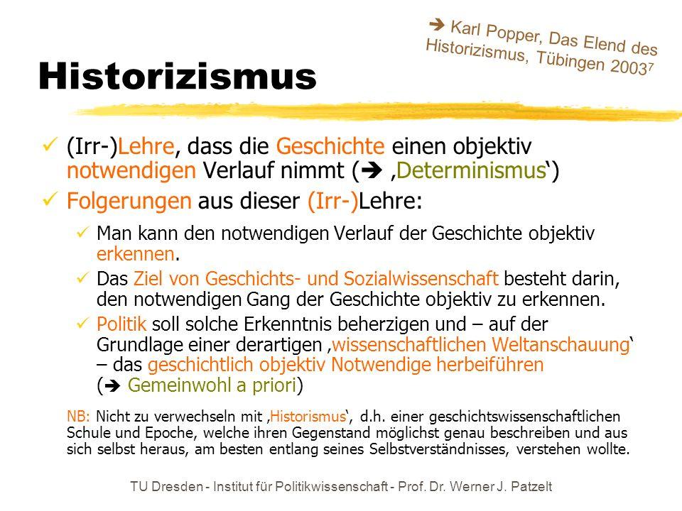 TU Dresden - Institut für Politikwissenschaft - Prof. Dr. Werner J. Patzelt Historizismus (Irr-)Lehre, dass die Geschichte einen objektiv notwendigen