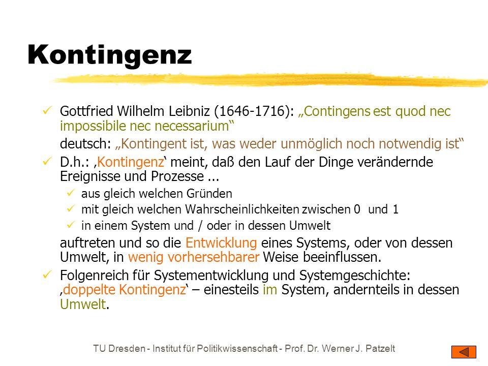 TU Dresden - Institut für Politikwissenschaft - Prof. Dr. Werner J. Patzelt Kontingenz Gottfried Wilhelm Leibniz (1646-1716): Contingens est quod nec