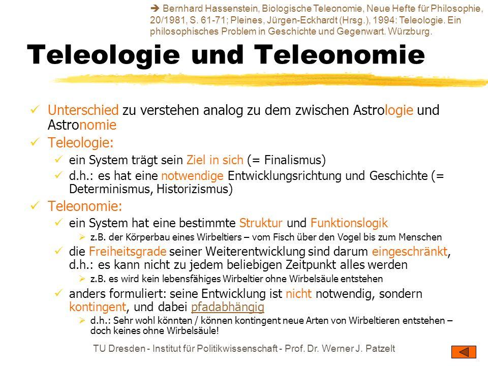 TU Dresden - Institut für Politikwissenschaft - Prof. Dr. Werner J. Patzelt Teleologie und Teleonomie Unterschied zu verstehen analog zu dem zwischen