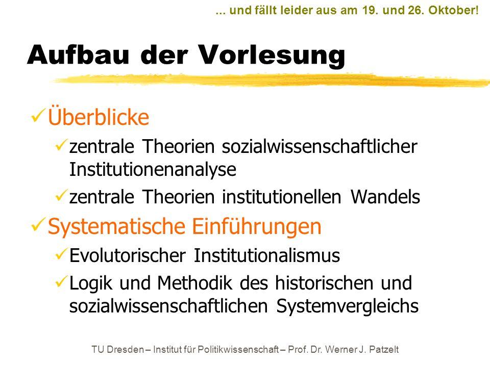 Aufbau der Vorlesung Überblicke zentrale Theorien sozialwissenschaftlicher Institutionenanalyse zentrale Theorien institutionellen Wandels Systematisc