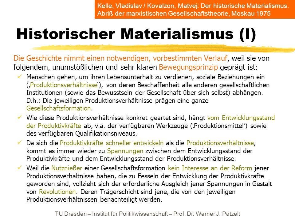 Historischer Materialismus (I) Die Geschichte nimmt einen notwendigen, vorbestimmten Verlauf, weil sie von folgendem, unumstößlichen und sehr klaren B