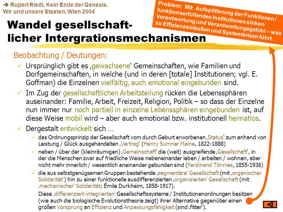 Wandel gesellschaft- licher Intergrationsmechanismen Beobachtung / Deutungen: Ursprünglich gibt es gewachsene Gemeinschaften, wie Familien und Dorfgem