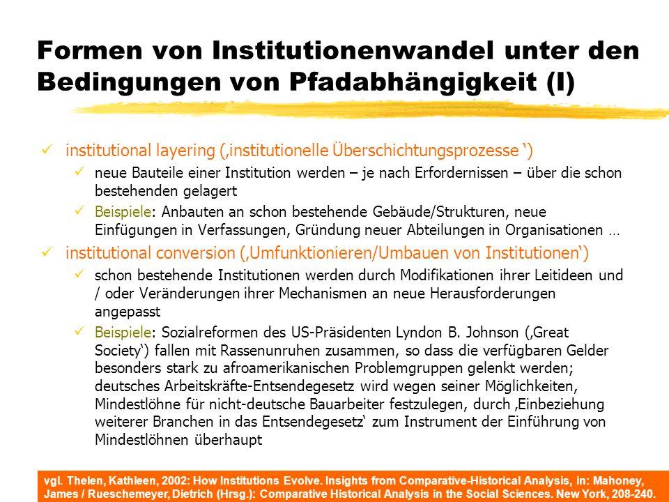 Formen von Institutionenwandel unter den Bedingungen von Pfadabhängigkeit (I) institutional layering (institutionelle Überschichtungsprozesse ) neue B