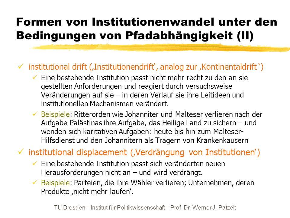 Formen von Institutionenwandel unter den Bedingungen von Pfadabhängigkeit (II) institutional drift (Institutionendrift, analog zur Kontinentaldrift )