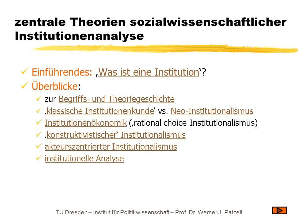 Defizite der referierten institutionenanalytischen Theorien recht nebensächliche Berücksichtigung des Faktors Zeit Zeit zwar implizit berücksichtigt bei der Konstruktion von Institutionen, beim Abschluss und Verändern von Verträgen, bei der Verfügungsrechtsproblematik usw., doch in der Regel nicht als expliziter Faktor Ausnahme: Rational choice-Modelle mit einander folgenden Spielrunden (von wo aus dann auch die Kategorie der Evolution neuentdeckt wurde) keine (ausreichende) Modellierung der Geschichtlichkeit von Institutionen (also: Ahistorizität), und somit keine (guten) Ansatzpunkte für … Diagnose / Therapie von Institutionenverfall Abschätzung von Notwendigkeit und Erfolgsaussichten von – auf längere Wirkungsfristen berechneten – Reformen Das ist umso unbefriedigender, als bei der Betrachtung des Zusammenhangs von Politik und Verfassung Erscheinungen wie die folgenden unübersehbar sind: Verfassungskreisläufe Verfassungsevolution Systemzusammenbrüche TU Dresden – Institut für Politikwissenschaft – Prof.