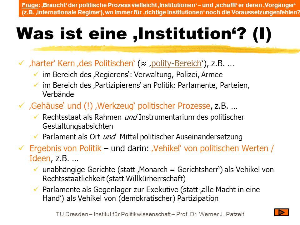 Was ist eine Institution? (I) harter Kern des Politischen ( polity-Bereich), z.B. …polity-Bereich im Bereich des Regierens: Verwaltung, Polizei, Armee