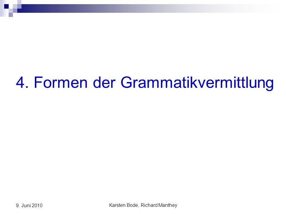 Karsten Bode, Richard Manthey 9. Juni 2010 4. Formen der Grammatikvermittlung