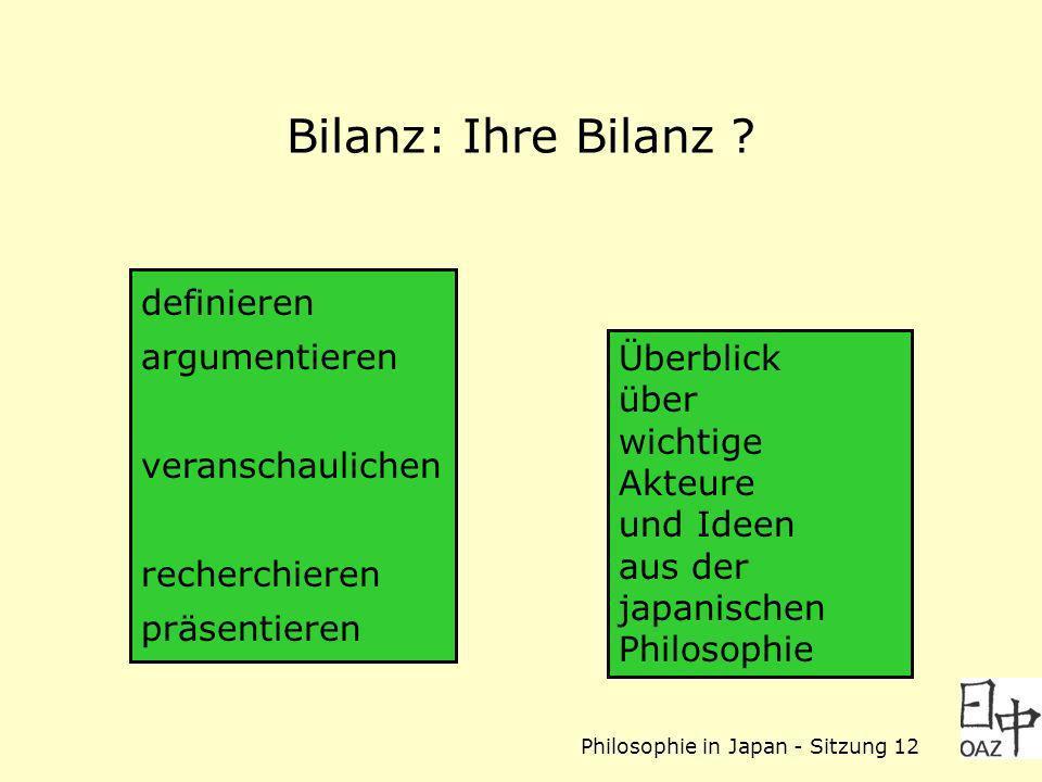 Philosophie in Japan - Sitzung 12 Bilanz: Ihre Bilanz ? definieren argumentieren veranschaulichen recherchieren präsentieren Überblick über wichtige A